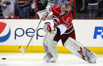 RALEIGH, NC - MAY 26:  Cam Ward #30 of the Carolina Hurricanes skates against the Pittsburgh Penguins during Game Four of the Eastern Conference Championship Round of the 2009 Stanley Cup Playoffs at RBC Center on May 26, 2009 in Raleigh, North Carolina. 