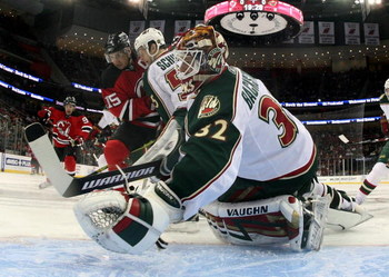 NEWARK, NJ - MARCH 20:  Niclas Backstrom #32 of the Minnesota Wild tends net against the New Jersey Devils on March 20, 2009 at the Prudential Center in Newark, New Jersey.  (Photo by Bruce Bennett/Getty Images)