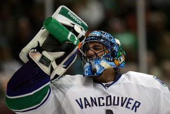 ANAHEIM, CA - MARCH 11:  Goaltender Roberto Luongo #1 of the Vancouver Canucks takes a drink during a break in their NHL game against the Anaheim Ducks at Honda Center on March 11, 2009 in Anaheim, California. The Ducks defeated the Canucks 4-3 in overtim