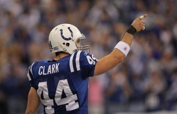 INDIANAPOLIS - JANUARY 13:  Dallas Clark #44 of the Indianapolis Colts celebrates after he scored on a 25-yard touchdown reception in the first quarter against the San Diego Chargers during their AFC Divisional Playoff game at the RCA Dome on January 13,