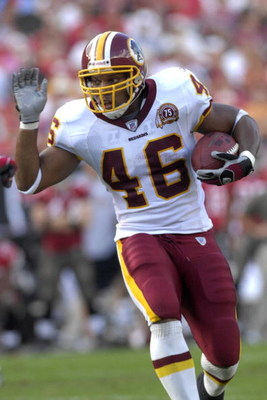 TAMPA, FL - NOVEMBER 25: Running back Ladell Betts #46 of the Washington Redskins rushes upfield against the Tampa Bay Buccaneers at the Raymond James Stadium on November 25, 2007 in Tampa, Florida.  The Bucs won 19-13. (Photo by Al Messerschmidt/Getty Im