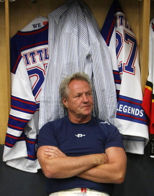 TORONTO, ON - NOVEMBER 09: Darryl Sittler waits in the locker room for the start of the Legends Classic Game on November 9, 2008 at the Air Canada Centre in Toronto, Ontario, Canada. (Photo by Bruce Bennett/Getty Images)