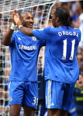 LONDON, ENGLAND - AUGUST 29:  Nicolas Anelka of Chelsea celebrates scoring the opening goal with teammate Didier Drogba during the Barclays Premier League match between Chelsea and Burnley at Stamford Bridge on August 29, 2009 in London, England.  (Photo