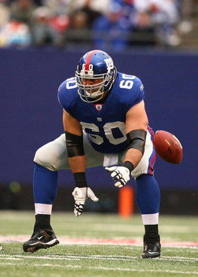 EAST RUTHERFORD, NJ - NOVEMBER 16:  Shaun O'Hara #60 of the New York Giants in action against the Baltimore Ravens during their game on November 16, 2008 at Giants Stadium in East Rutherford, New Jersey.  (Photo by Al Bello/Getty Images)