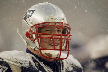 FOXBORO, MA - DECEMBER 14:  Center Dan Koppen #67 of the New England Patriots stands on the field during the game against the Jacksonville Jaguars on December 14, 2003 at Gillette Stadium in Foxboro, Massachusetts. The Patriots won 27-13. (Photo by Rick S