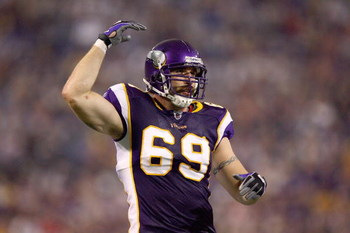 MINNEAPOLIS - SEPTEMBER 12:  Jared Allen #69 of the Minnesota Vikings celebrates on the field during the game against the Indianapolis Colts at the Metrodome on September 14, 2008 in Minneapolis, Minnesota. (Photo by: Jeff Gross/Getty Images)