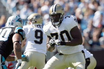 CHARLOTTE, NC - OCTOBER 19:  Jammal Brown #70 of the New Orleans Saints moves to block the line during the game against the Carolina Panthers at Bank of America Stadium on October 19, 2008 in Charlotte, North Carolina.  (Photo by Kevin C. Cox/Getty Images