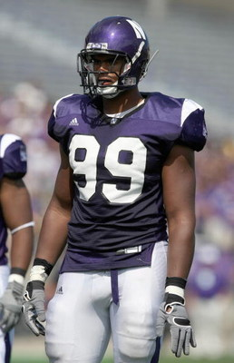 EVANSTON, IL - SEPTEMBER 8: Corey Wootton #99 of the Northwestern Wildcats looks on during the game against the Nevada Wolf Pack on September 8, 2007 at Ryan Field at Northwestern University in Evanston, Illinois. (Photo by Jonathan Daniel/Getty Images)