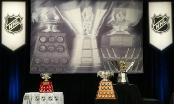 OTTAWA, ON - JUNE 02:  (L-R) The William M. Jennings Trophy, Art Ross Trophy and the Maurice 'Rocket' Richard Trophy on display at the NHL Awards Luncheon on June 2, 2007 at Brookstreet Hotel in Ottawa, Canada.   (Photo by Dave Sandford/Getty Images)