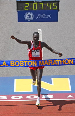 BOSTON - APRIL 21:  Robert K. Cheruiyot wins the men's division of the the 112th Boston Marathon on April 21, 2008 in Boston, Massachusetts.  (Photo by Jim Rogash/Getty Images)