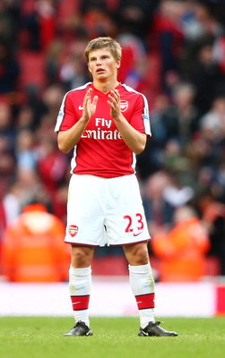 LONDON - MARCH 14:  Andrei Arshavin of Arsenal celebrates after the Barclays Premier League match between Arsenal and Blackburn Rovers at Emirates Stadium on March 14, 2009 in London, England.  (Photo by Clive Mason/Getty Images)
