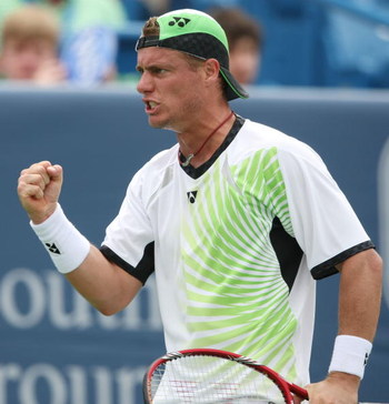 CINCINNATI - AUGUST 18:  Lleyton Hewitt of Australia celebrates a point against Robin Soderling of Sweden during day two of the Western & Southern Financial Group Masters on August 17, 2009 at the Lindner Family Tennis Center in Cincinnati, Ohio.  (Photo