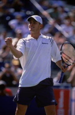 2 Sep 2001:  Andy Roddick of the USA celebrates on the court during the match against Alex Coreretja of Spain for the US Open at the USTA National Tennis Center in Flushing, New York. Roddick defeated Coreretja 6-4, 6-2, 6-2.Mandatory Credit: Ezra Shaw  /