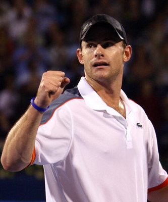 DUBAI, UNITED ARAB EMIRATES - MARCH 08:  Andy Roddick of United States celebrates winning a game against Feliciano Lopez of Spain in the final during the ATP Barclays Dubai Tennis Championships at the Dubai Tennis Stadium on March 8, 2008 in Dubai, United