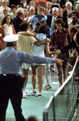 20 Sep 1973:  Bobby Riggs of the USA comes off court defeated by Billie Jean-King of the USA after a Battle of the Sexes Challenge Match held at the Astrodome, in Houston, Texas. The battle of the sexes match came about after Bobby Riggs had challenged Ki