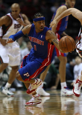MILWAUKEE - FEBRUARY 07: Allen Iverson #1  of the Detroit Pistons turns upcourt after stealing the ball against the Milwaukee Bucks on February 7, 2009 at the Bradley Center in Milwaukee, Wisconsin. NOTE TO USER: User expressly acknowledges and agreees th