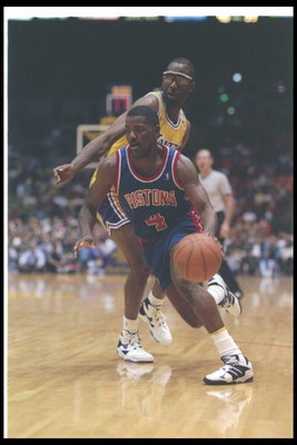 20 Apr 1995:  Guard Joe Dumars of the Detroit Pistons moves the ball during a game against the Chicago Bulls at the United Center in Chicago, Illinois. Mandatory Credit: Jonathan Daniel  /Allsport Mandatory Credit: Jonathan Daniel  /Allsport