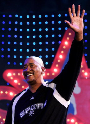 LAS VEGAS - FEBRUARY 17:  NBA legend George Gervin waves to the crowd before the start of the Haier Shooting Stars Competition during NBA All-Star Weekend on February 17, 2007 at Thomas & Mack Center in Las Vegas, Nevada.  NOTE TO USER: User expressly ack