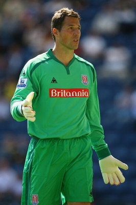 PRESTON, UNITED KINGDOM - JULY 25:  Thomas Sorensen of Stoke City during a Pre Season Friendly match between Preston North End and Stoke City at Deepdale on July 25, 2009 in Preston, England.  (Photo by Alex Livesey/Getty Images)