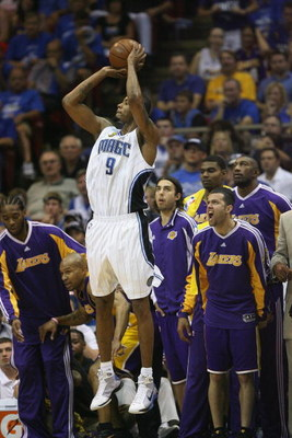 ORLANDO, FL - JUNE 14:  Rashard Lewis #9 of the Orlando Magic takes a jump shot against the Los Angeles Lakers in Game Five of the 2009 NBA Finals on June 14, 2009 at Amway Arena in Orlando, Florida. The Lakers won 99-86. NOTE TO USER:  User expressly ack