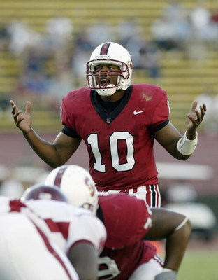 PALO ALTO, CA  - OCTOBER 18:  Quarterback Chris Lewis #5 of the Stanford Cardinals calls out he snap count during the game against the Washington State Cougars on October 18, 2003 at Stanford Stadium in Palo Alto, California.  Washington State defeated St