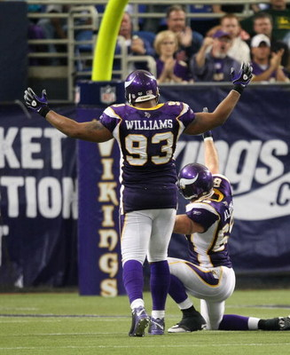 MINNEAPOLIS - SEPTEMBER 21:  Defensive linemen Kevin Williams and Jared Allen of the Minnesota Vikings celebrate a late 4th quarter sack against the Carolina Panthers at the HH Humphrey Metrodome on September 21, 2008 in Minneapolis, Minnesota.  (Photo by