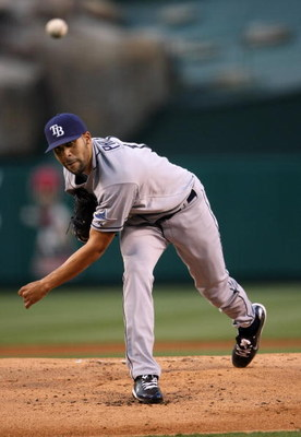 ANAHEIM, CA - AUGUST 11:  Pitcher David Price #14 of the Tampa Bay Rays throws a pitch against the Los Angeles Angels of Anaheim on August 11, 2009 at Angel Stadium in Anaheim, California.  (Photo by Stephen Dunn/Getty Images)