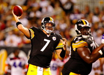 PITTSBURGH - AUGUST 29:  Quarterback Ben Roethlisberger #7 of the Pittsburgh Steelers passes downfield in the second quarter during the game against the Buffalo Bills at Heinz Field on August 29, 2009 in Pittsburgh, Pennsylvania. (Photo by Gregory Shamus/