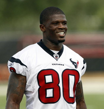 HOUSTON - JULY 31:  Wide receiver Andre Johnson #80 of the Houston Texans during the first day of training camp on July 31, 2009 in Houston, Texas.  (Photo by Bob Levey/Getty Images)