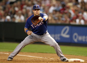 PHOENIX - JUNE 23:  Infielder Chris Davis #19 of the Texas Rangers in action during the major league baseball game against the Arizona Diamondbacks at Chase Field on June 23, 2009 in Phoenix, Arizona. The Diamondbacks defeated the Rangers 8-2.  (Photo by 