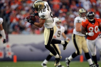 DENVER - SEPTEMBER 21:  Wide receiver Lance Moore #16 of the New Orleans Saints makes a reception against the Denver Broncos during NFL action at Invesco Field at Mile High on September 21, 2008 in Denver, Colorado. The Broncos defeated the Saints 34-32.