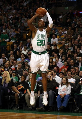 BOSTON - FEBRUARY 27:  Ray Allen #20 of the Boston Celtics takes a three point shot against the Indiana Pacers on February 27, 2009 at TD Banknorth Garden in Boston, Massachusetts.The Celtics defeated the Pacers 104-99. NOTE TO USER: User expressly acknow