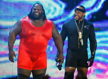 LAS VEGAS - AUGUST 24:  Wrestlers Mark Henry (L) and MVP are introduced during the WWE Monday Night Raw show at the Thomas &amp; Mack Center August 24, 2009 in Las Vegas, Nevada.  (Photo by Ethan Miller/Getty Images)