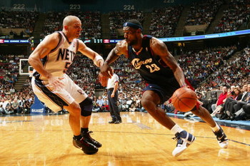 EAST RUTHERFORD, NJ - MAY 14:  LeBron James #23 of the Cleveland Cavaliers tries to drive around Jason Kidd #5 of the New Jersey Nets in Game Four of the Eastern Conference Semifinals during the 2007 NBA Playoffs on May 14, 2007 at the Continental Airline