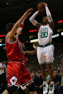 BOSTON - MAY 02:  Ray Allen #20 of the Boston Celtics takes a shot over Brad Miller #52 of the Chicago Bulls in Game Seven of the Eastern Conference Quarterfinals during the 2009 NBA Playoffs at TD Banknorth Garden on May 2, 2009 in Boston, Massachusetts.