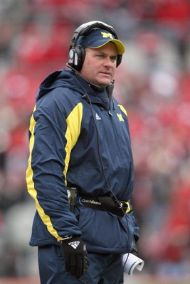 COLUMBUS, OH - NOVEMBER 22: Head coach Rich Rodriguez of the Michigan Wolverines watches the action during the Big Ten Conference game against the Ohio State Buckeyes at Ohio Stadium on November 22, 2008 in Columbus, Ohio.  (Photo by Andy Lyons/Getty Imag