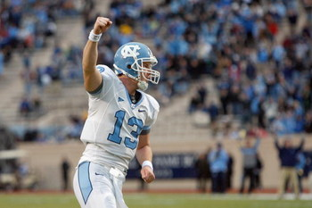 DURHAM, NC - NOVEMBER 29:  Quarterback T.J. Yates #13 of the North Carolina Tar Heels celebrates on the field during the game against the Duke Blue Devils at Wallace Wade Stadium on November 29, 2008 in Durham, North Carolina. (Photo by Kevin C. Cox/Getty