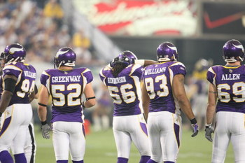 MINNEAPOLIS - SEPTEMBER 21:  Pat Williams #94, Chad Greenway #52, E.J. Henderson #56, Kevin Williams #93 and Jared Allen #69 of the Minnesota Vikings look on against the Carolina Panthers during their NFL game at the Hubert H. Humphrey Metrodome on Septem