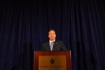 NEW YORK - JULY 27:  NFL Commissioner Roger Goodell answers questions from the media after reinstating Michael Vick on a conditional basis on July 27, 2009 at the InterContinental Hotel in New York City.  (Photo by Mike Stobe/Getty Images)