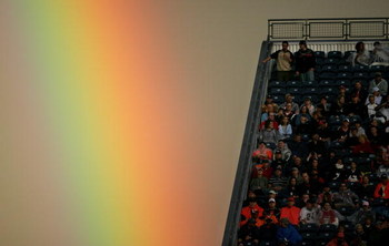 DENVER - AUGUST 19:  A heavy rainstorm prior to the game gave way to a rainbow at sunset as fans watch the Tennessee Titans face the Denver Broncos during preseason NFL action on August 19, 2006 at Mile High Stadium at Invesco Field in Denver, Colorado.