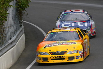 MONTREAL, QC - AUGUST 30:  Marcos Ambrose, driver of the #47 Armor All Toyota, and Carl Edwards, driver of the #60 CitiFinancial Ford, race during the NASCAR Nationwide Napa Auto Parts 200 on August 30, 2009 at the Circuit Gilles Villeneuve in Montreal, Q