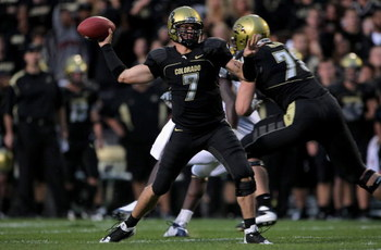BOULDER, CO - SEPTEMBER 18:  Quarterback Cody Hawkins #7 of the Colorado Buffaloes delivers a pass against the West Virginia Mountaineers at Folsom Field on September 18, 2008 in Boulder, Colorado. Colorado defeated West Virginia 17-14.  (Photo by Doug Pe