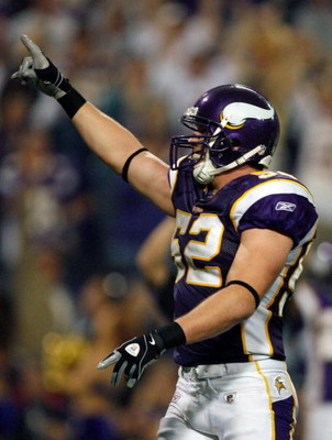 MINNEAPOLIS - NOVEMBER 02:  Chad Greenway #52 of the Minnesota Vikings celebrates an interception against the Houston Texans during the third quarter at the Hubert H. Humphrey Metrodome on November 2, 2008 in Minneapolis, Minnesota.  The vikings won 28-21