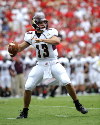 ATHENS, GA - SEPTEMBER 6: Quarterback Dan LeFevour #13 of the  Central Michigan Chippewas sets to pass against the Georgia Bulldogs at Sanford Stadium on September 6, 2008 in Athens, Georgia.  (Photo by Al Messerschmidt/Getty Images)