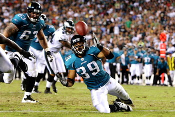 PHILADELPHIA, PA - AUGUST 27:  Alvin Pearman #39 of the Jacksonville Jaguars fumbles the ball in the end zone during the preseason game against the Philadelphia Eagles at Lincoln Financial Field on August 27, 2009 in Philadelphia, Pennsylvania.  (Photo by