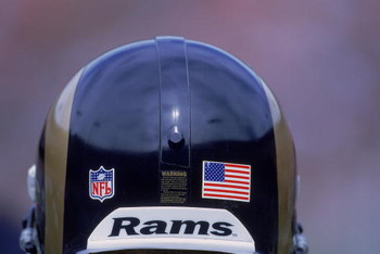 23 Sep 2001:  A close up view of Adam Archuleta #31 of the St. Louis Rams helmet with an American Flag sticker during the game against the San Francisco 49ers during the game at 3Com Park in San Francisco, California. The Rams defeated the 49ers 26-30. Ma