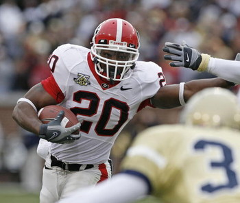 ATLANTA - NOVEMBER 24: Running back Thomas Brown #20 of the Georgia Bulldogs rushed for 55 yards in the first half during the game against the Georgia Tech Yellow Jackets on November 24, 2007 at Bobby Dodd Stadium at Historic Grant Field in Atlanta, Georg