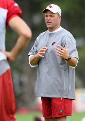 FLAGSTAFF, AZ - JULY 31:  Defensive coordinator Bill Davis of the Arizona Cardinals gives instructions during the team training camp at Northern Arizona University on July 31, 2009 in Flagstaff, Arizona.  (Photo by Christian Petersen/Getty Images)