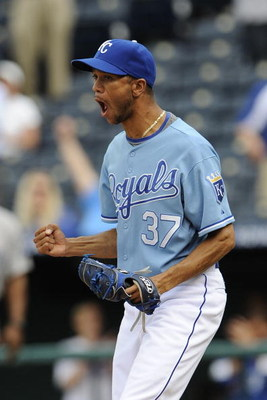 KANSAS CITY, MO - APRIL 30:  Juan Cruz #37 of the Kansas City Royals reacts after getting a game-ending strikeout against the Toronto Blue Jays on April 30, 2009 at Kauffman Stadium in Kansas City, Missouri. The Royals beat the Blue Jays 8-6. (Photo by G.
