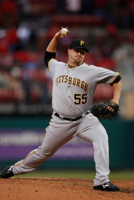 ST. LOUIS - APRIL 6:  Matt Capps #55 of the Pittsburgh Pirates pitches against the St. Louis Cardinals during Opening Day on April 6, 2009 at Busch Stadium in St. Louis, Missouri.  The Pirates beat the Cardinals 6-4. (Photo by Dilip Vishwanat/Getty Images